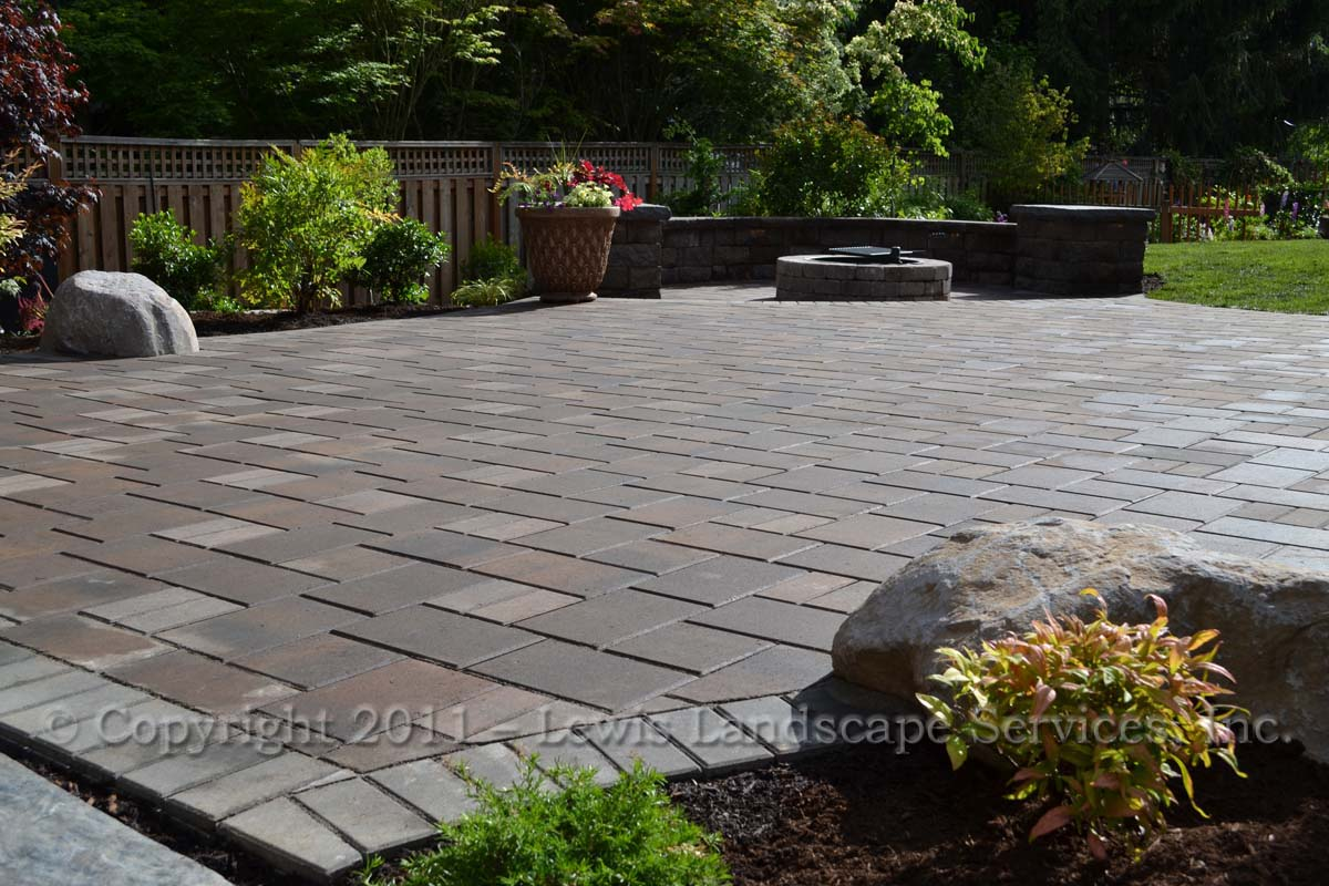 Paver Patio, Seat Wall, Fire Pit, Landscaping