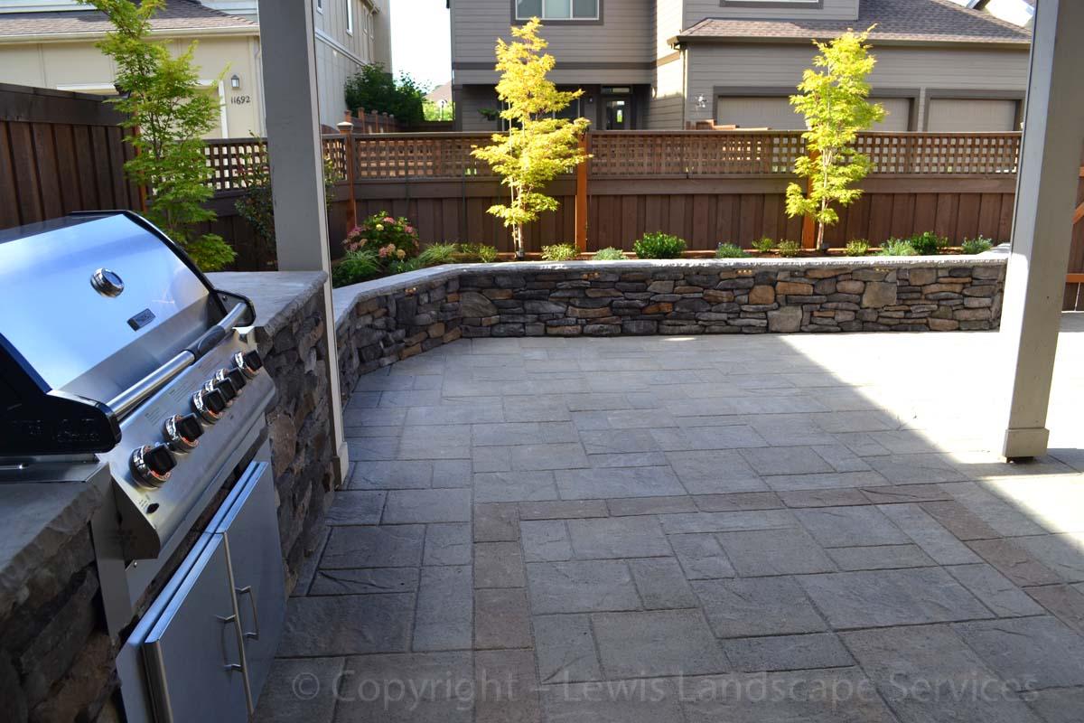 Paver Patio, Stone Seat Wall / Raised Planter, Outdoor Kitchen