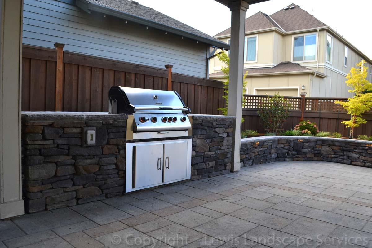 Paver Patio, Outdoor BBQ Kitchen, Stone Seat Wall / Raised Planter