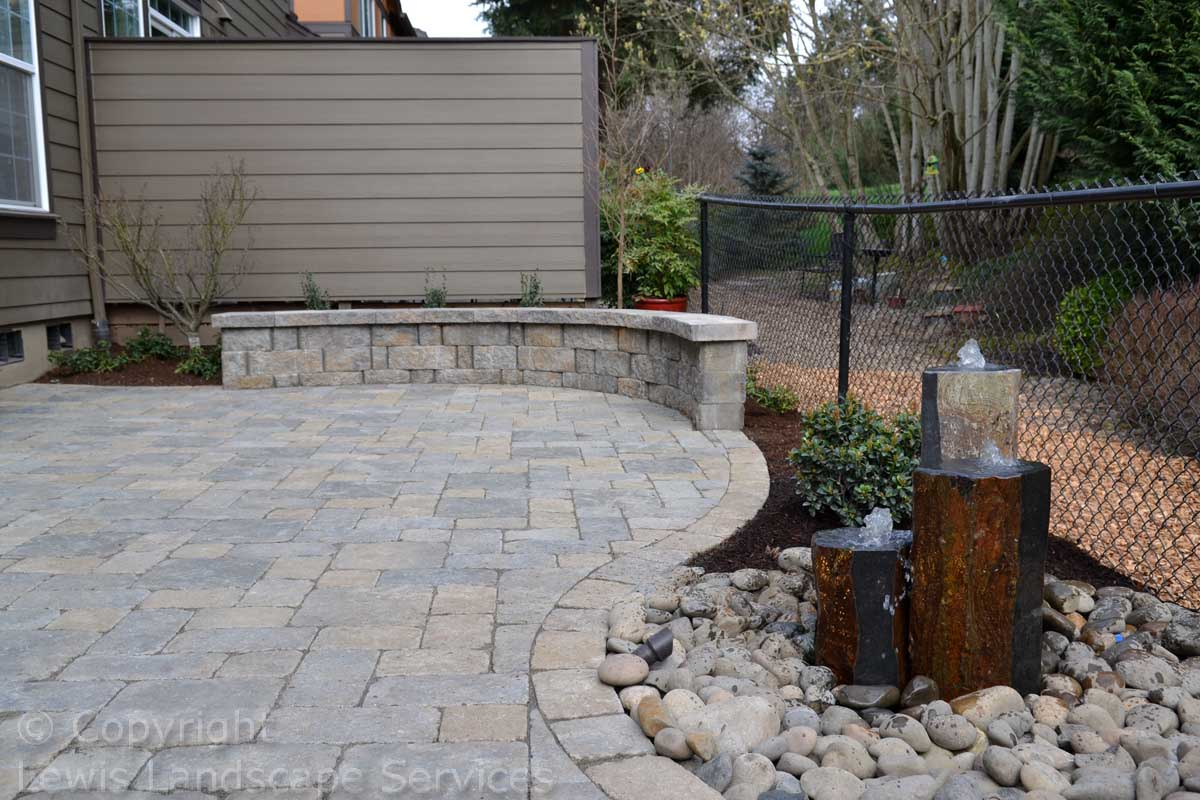 Paver Patio, Seat Wall, Water Feature, Landscaping