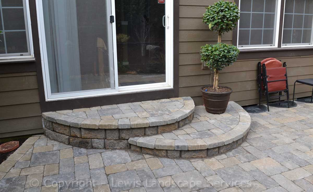Paver Landing/Steps from Door Down to Paver Patio