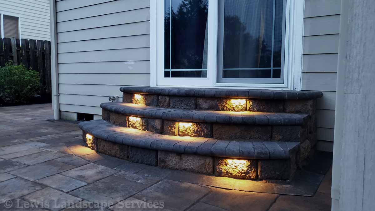 Paver Steps to Back Door, With Night Lighting