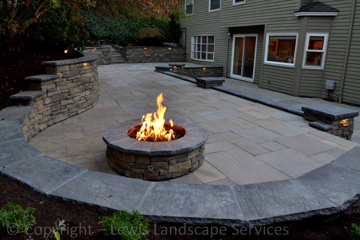 Stone Patio, Stone Walls, Fire Pit