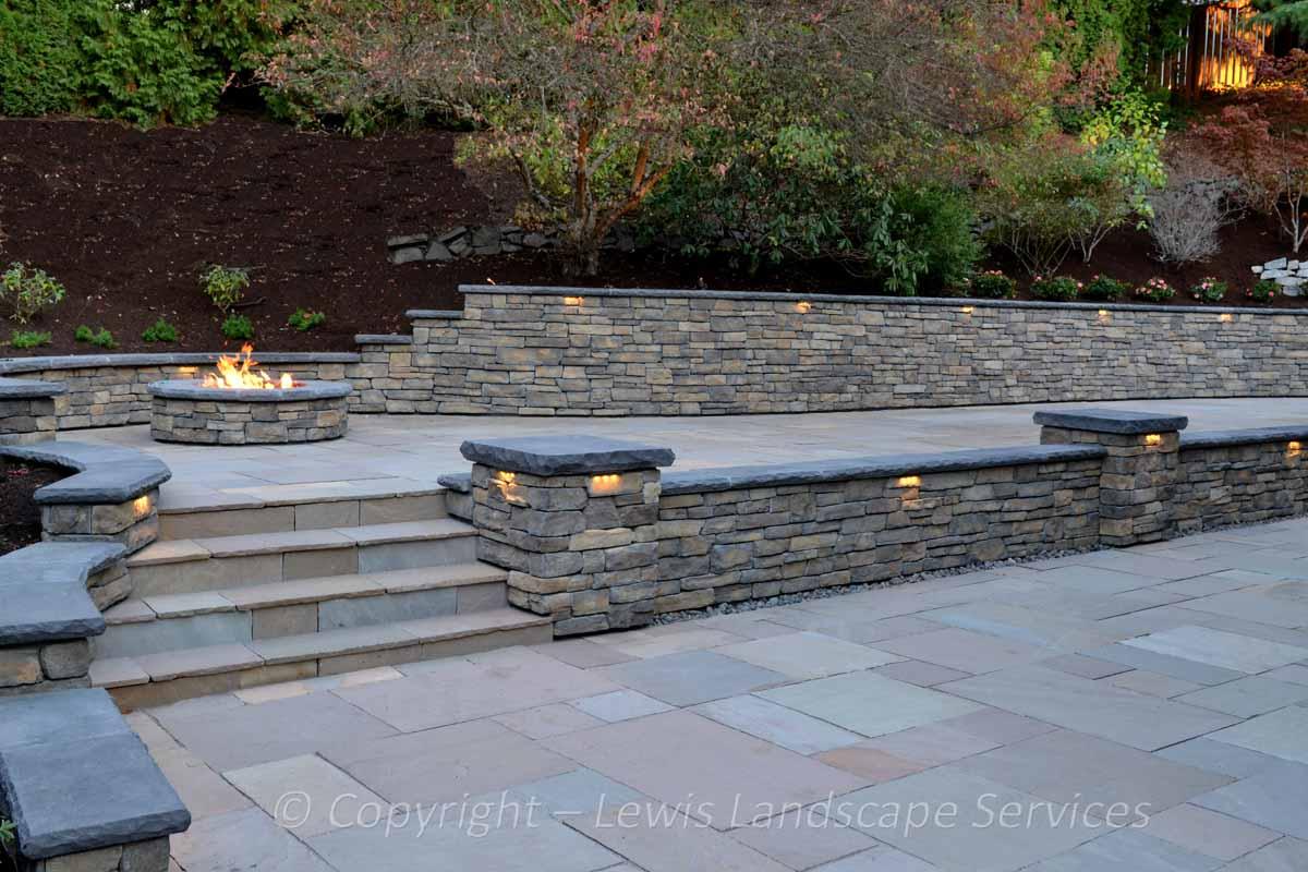 Stone Patio, Stone Walls & Columns, Fire Pit