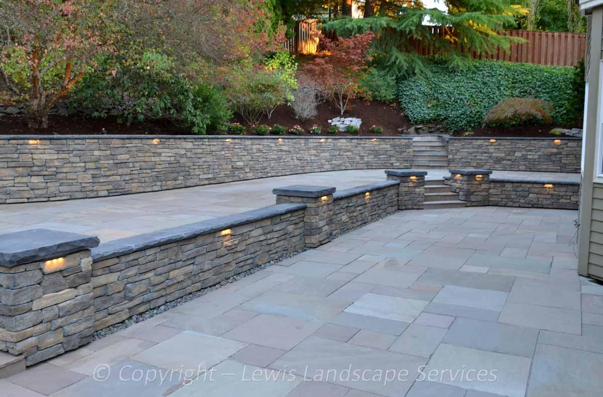 Stone Patio, Stone Walls & Columns, Lighting