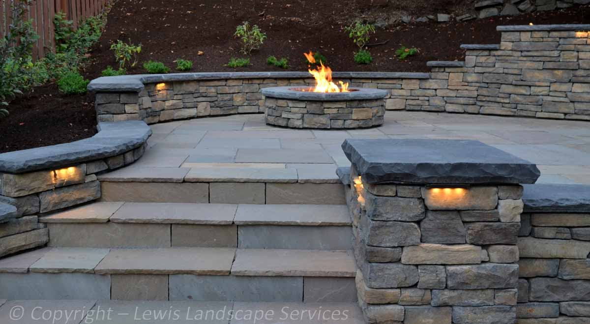 Stone Patio, Stone Walls & Columns, Fire Pit, Steps