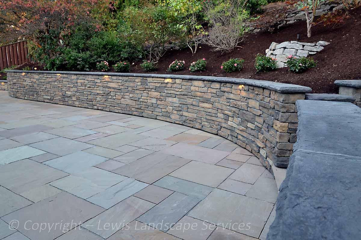 Stone Patio, Stone Walls, Lighting