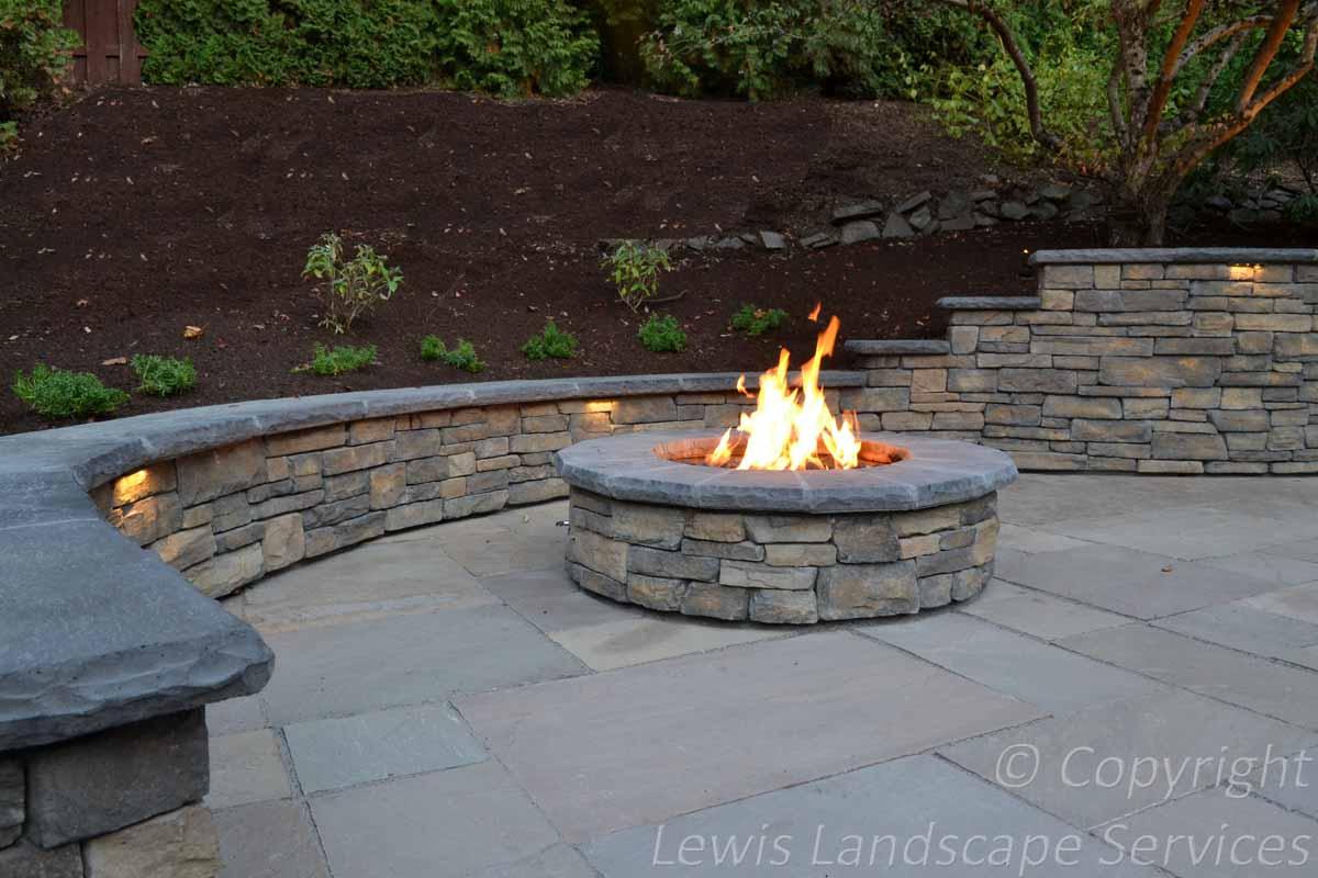 Stone Patio, Stone Walls, Fire Pit