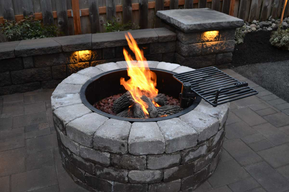 Gas Fire Pit, Seat Wall