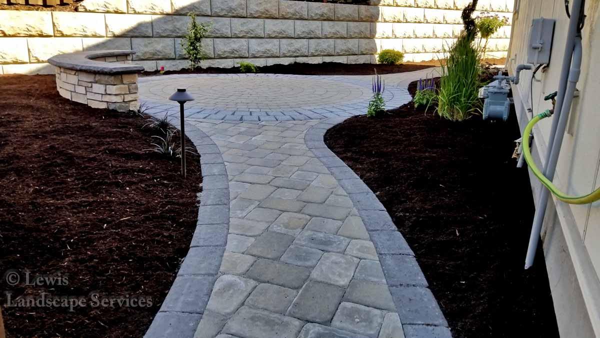 Paver Pathway, Small Paver Patio, Seat Wall