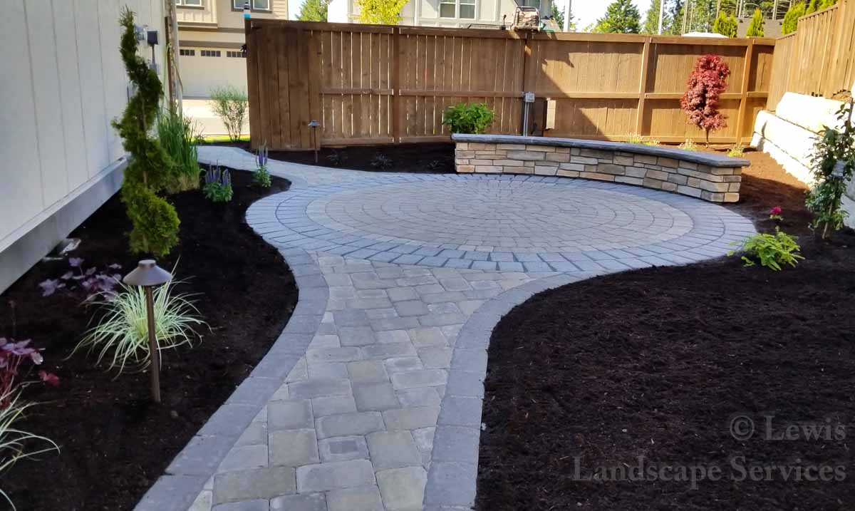 Paver Pathway, Small Paver Patio, Seat Wall
