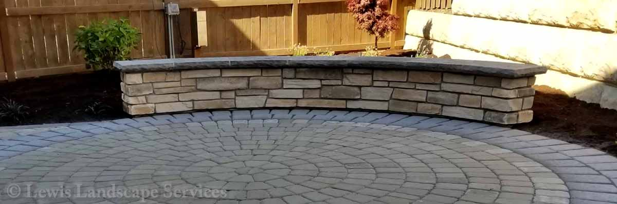 Small Paver Patio, Seat Wall