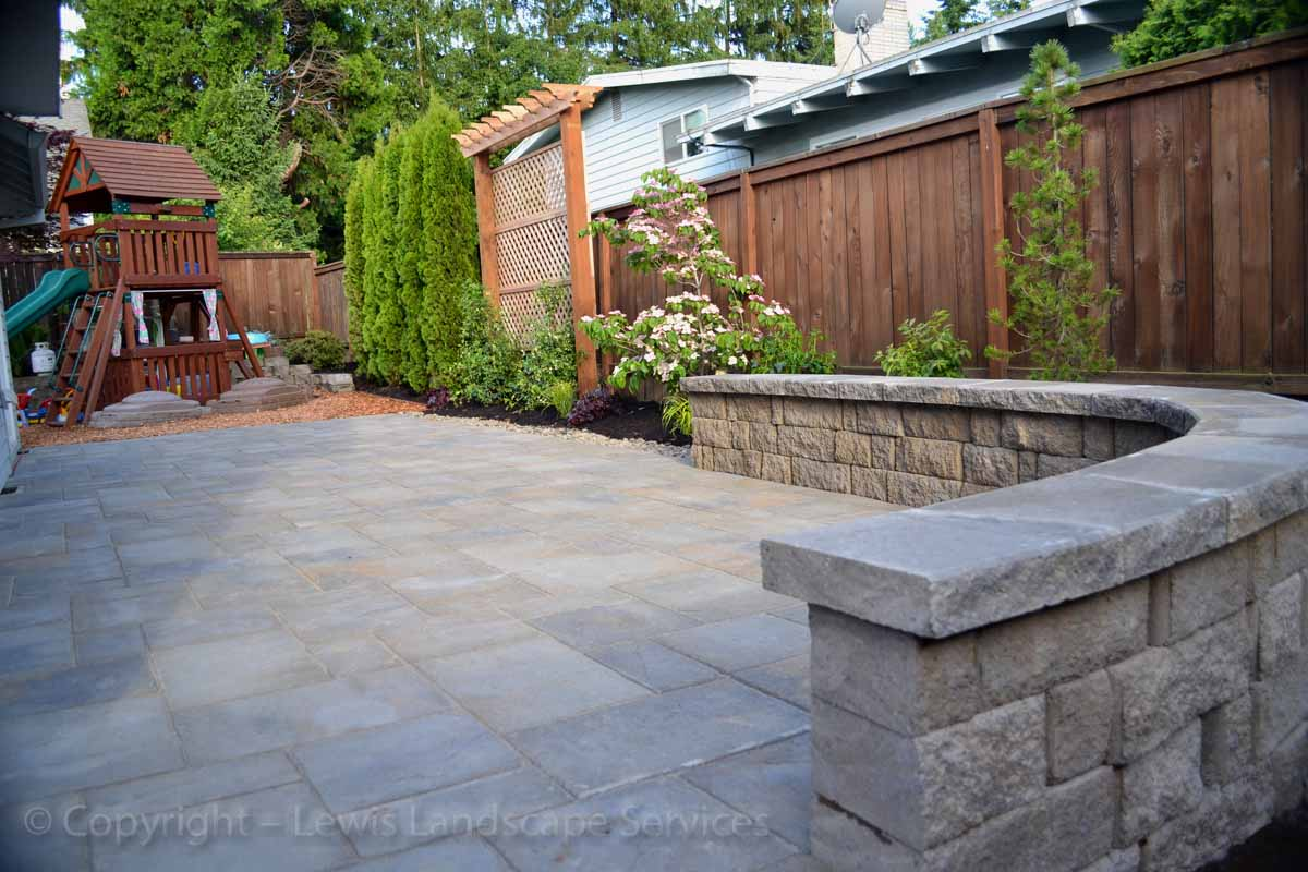 Paver Patio, Seat Wall, Landscaping, French Drain