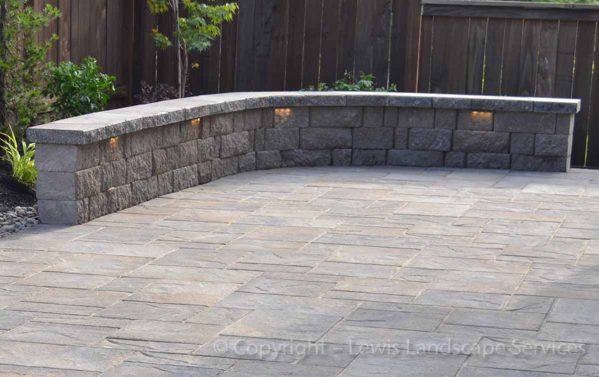 Paver Patio & Seat Wall (with Lighting)