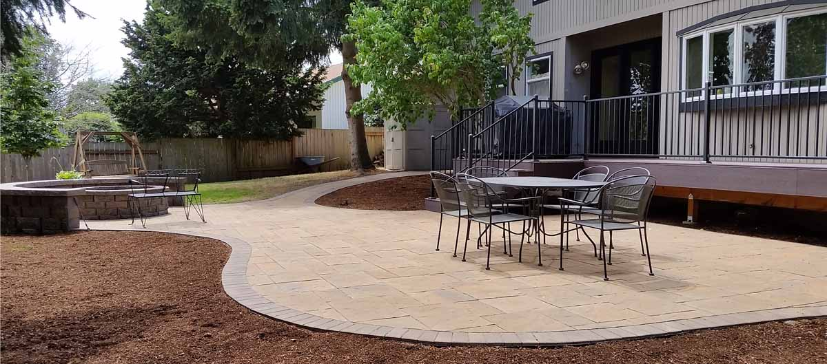 Paver Patio, Fire Pit, Seat Wall, Deck