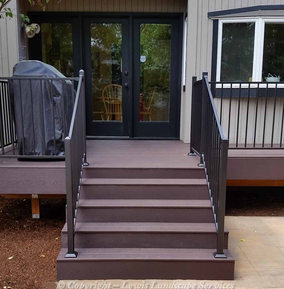 Timber Tech Synthetic Deck, Steps & Iron Railing