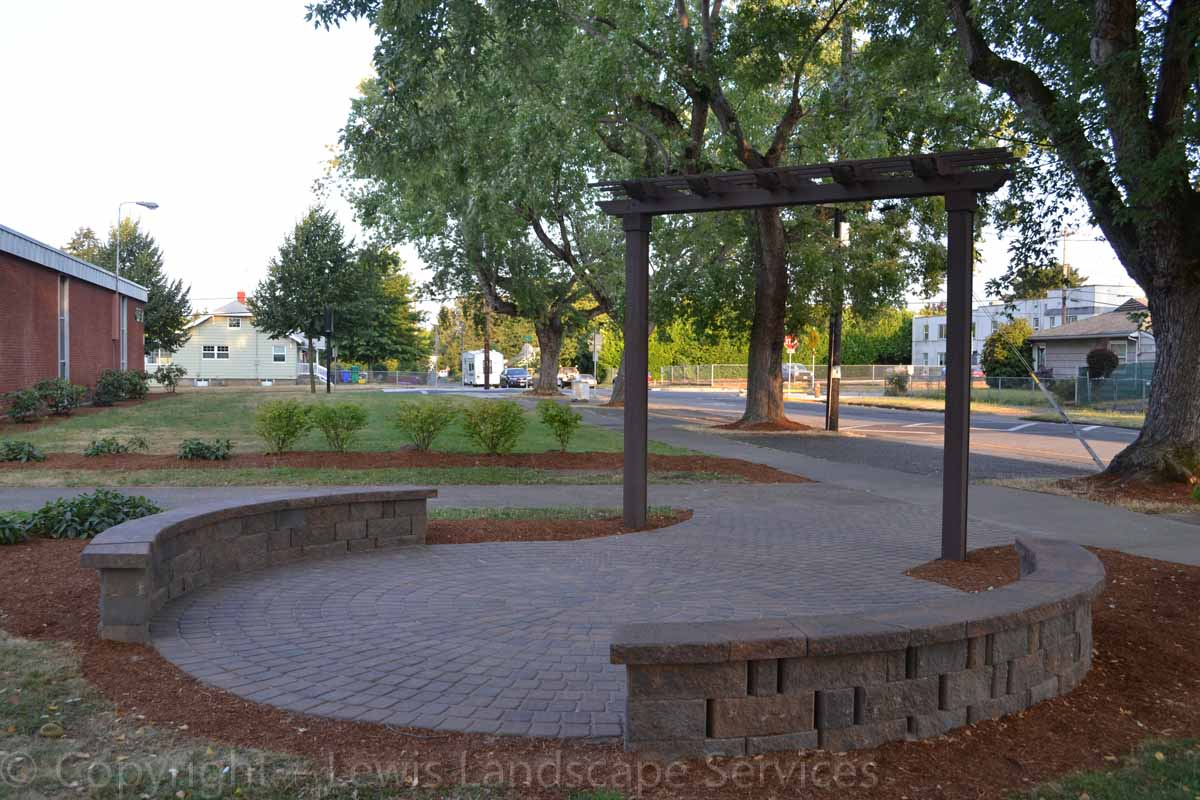 Patio, Seat Wall &Arbor We Built in 1 Day at Roosevelt High School