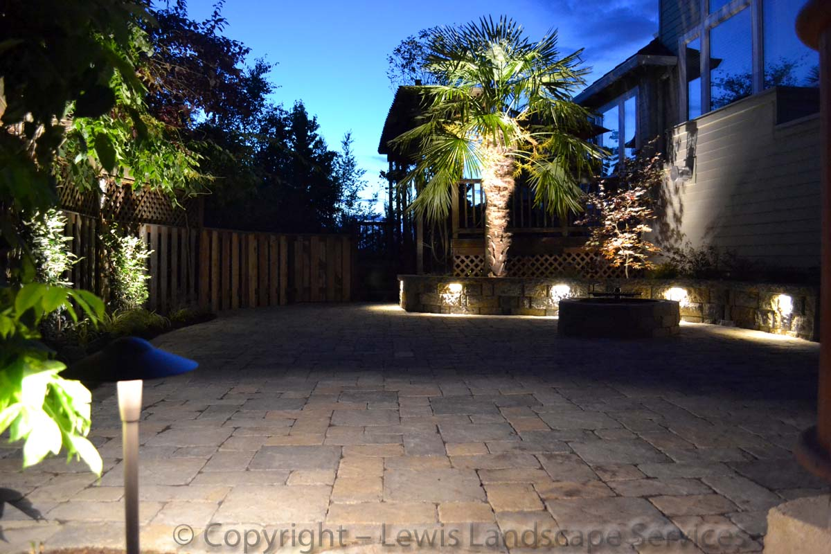 Paver Patio, Fire Pit, Seat Wall, Lighting