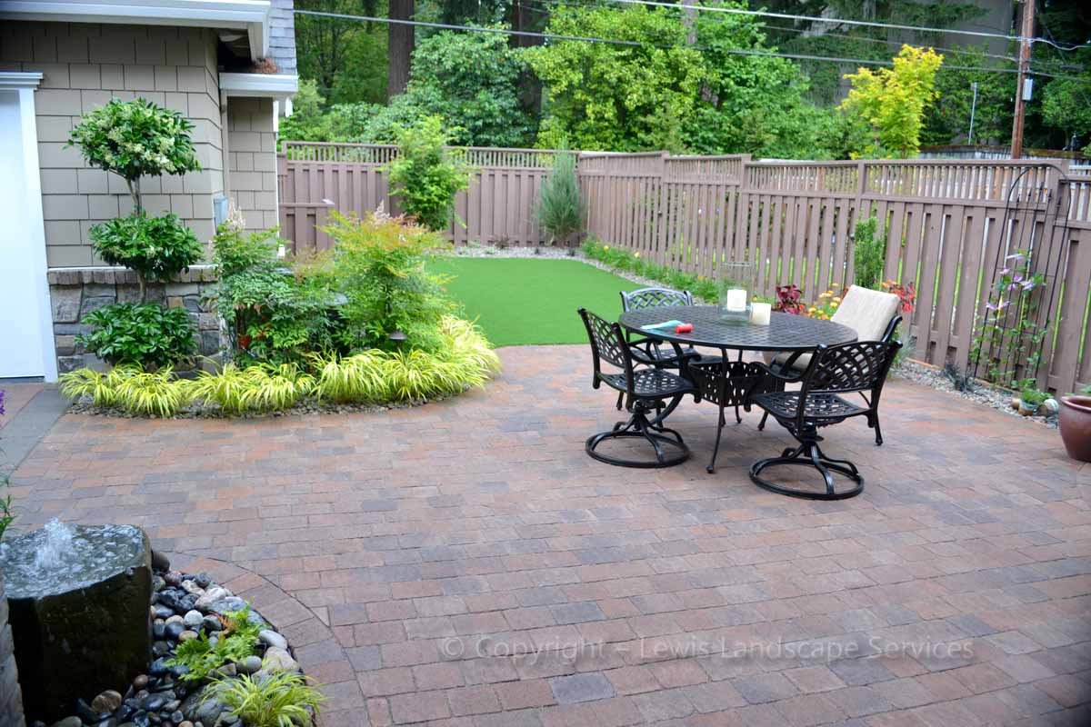 Paver Patio, Landscaping, Synthetic Turf, Back Yard