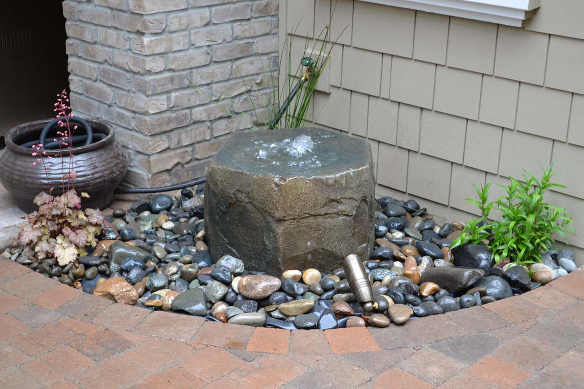 Rock Bubbler Fountain, Near Back Patio