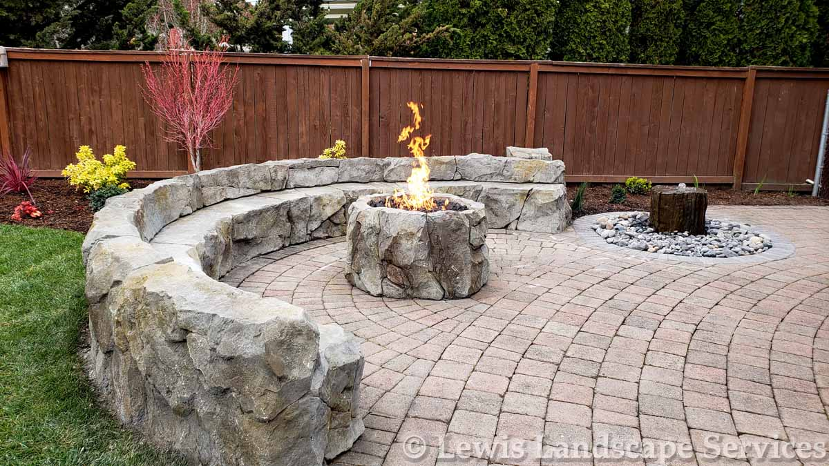 Custom Made Seat Wall, Fire Pit & Bubbler Fountain