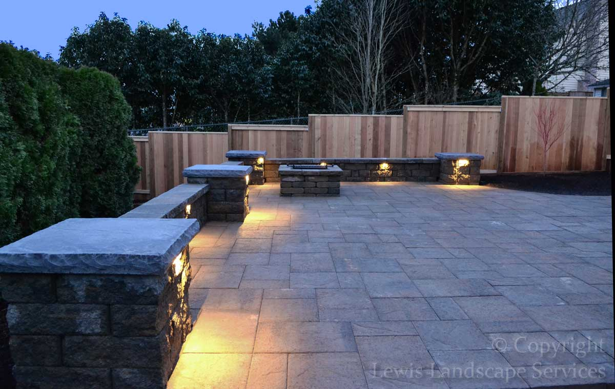 Paver Patio, Seat Wall, Columns, Fire Pit, Lighting