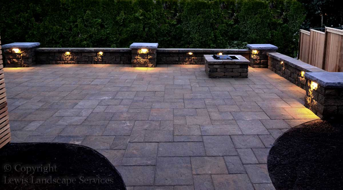 Paver Patio, Seat Wall, Columns, Fire Pit Lighting