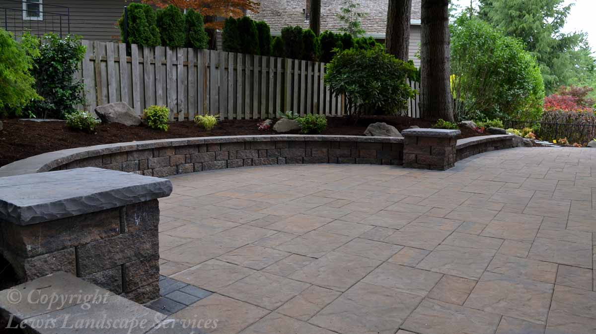 Paver Patio, Seat Wall, Columns