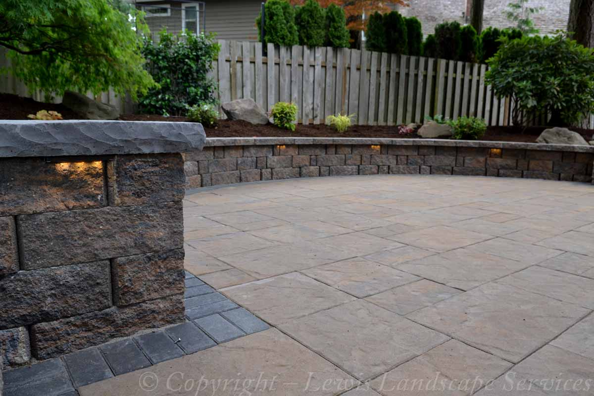 Paver Patio, Seat Wall, Columns, Lighting