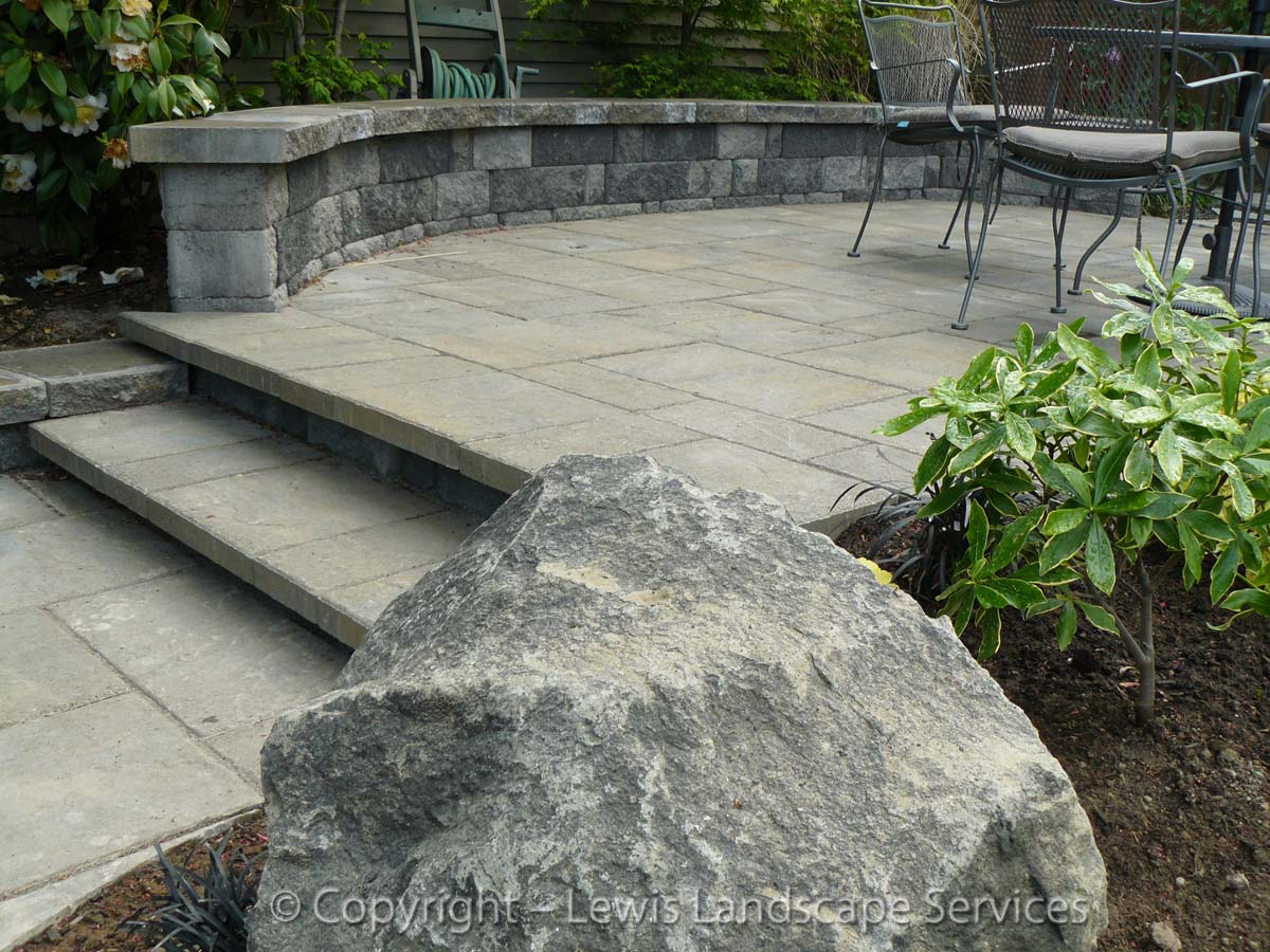 Upper Paver Patio, Steps, Seat Wall