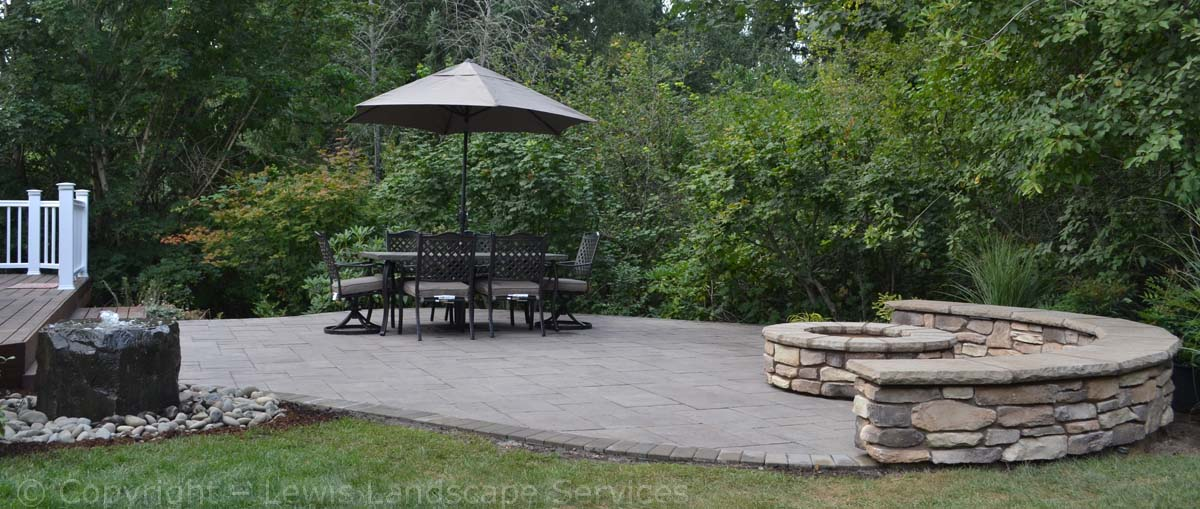 Paver Patio, Seat Wall, FIre Pit, Bubbler Fountain