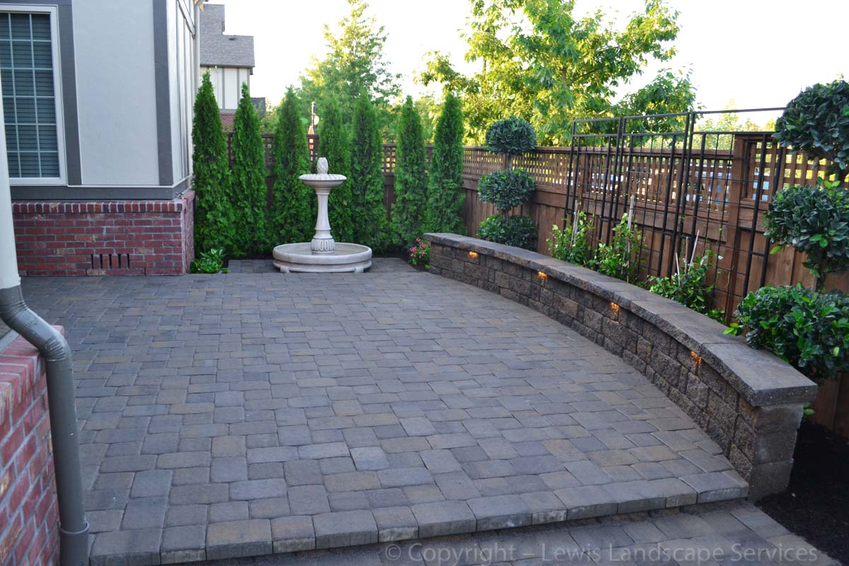 Tiered Paver Patio, Seat Wall, Landscaping, Lighting