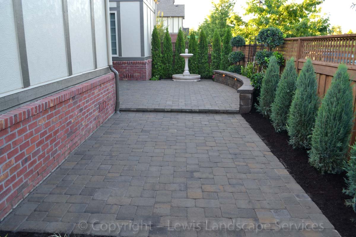 Tiered Paver Patio, Seat Wall, Landscaping
