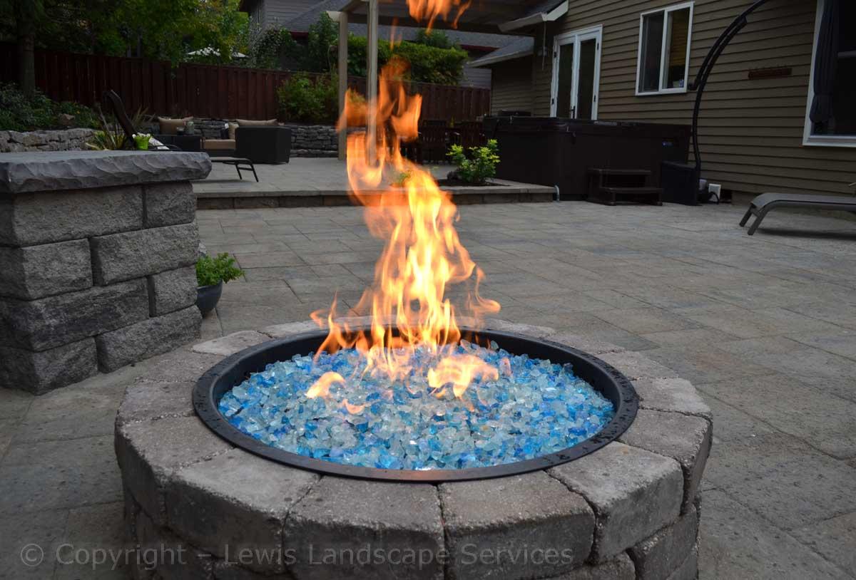 Closeup of Fire Pit, Fire Glass