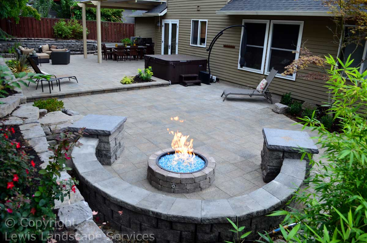 Paver Patio, Seat Wall, Fire Pit, Fire Glass, Rock Walls, Landscaping