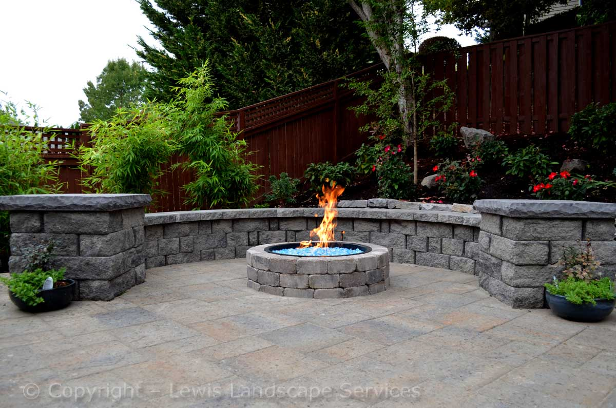 Close-up of Fire Pit, Fire Glass, Seat Walls