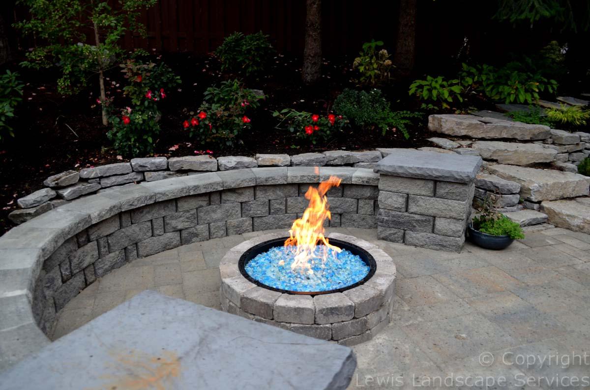 Seat Wall, Columns, Fire Pit, Fire Glass