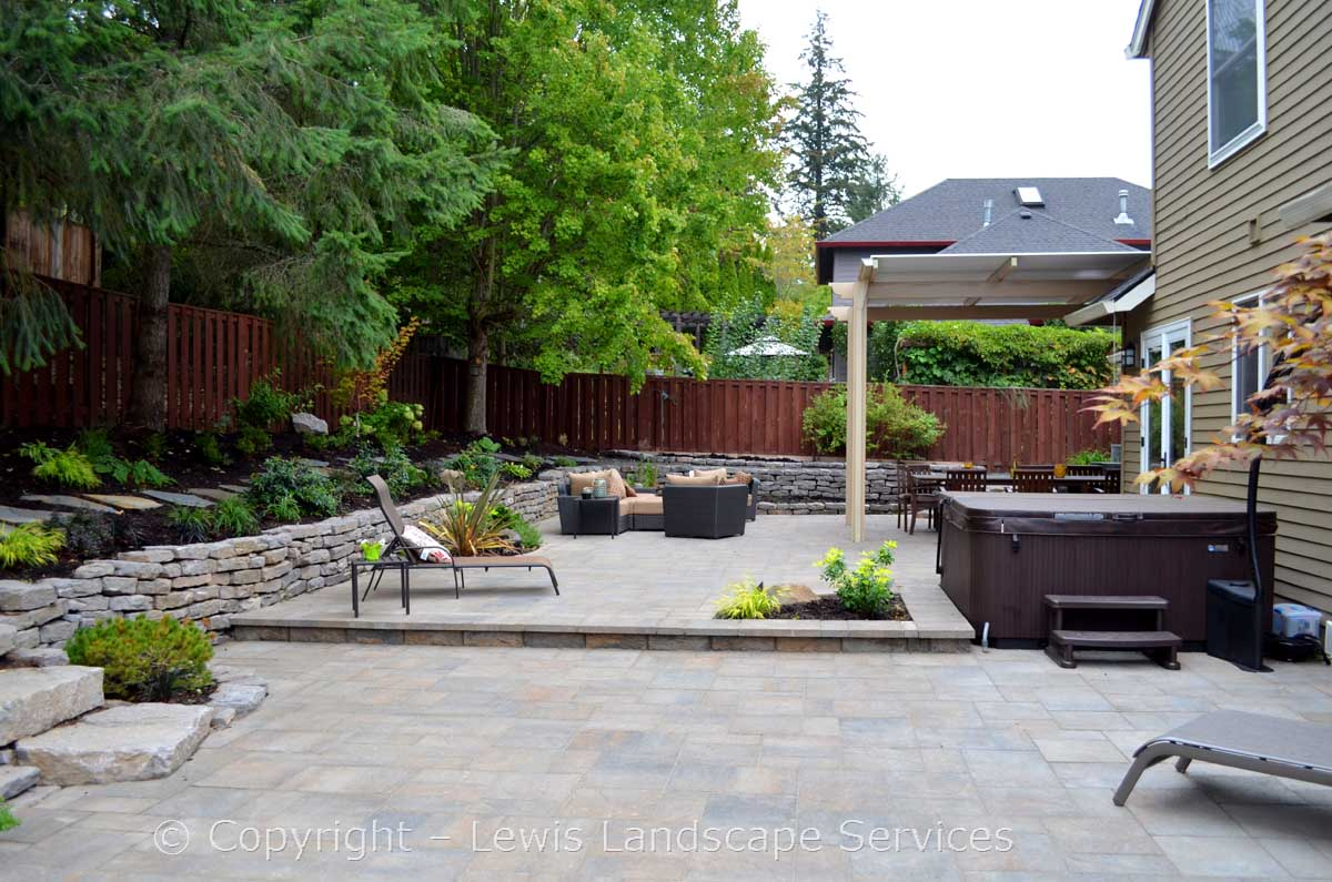 Paver Patio, Rock Walls, Landscaping