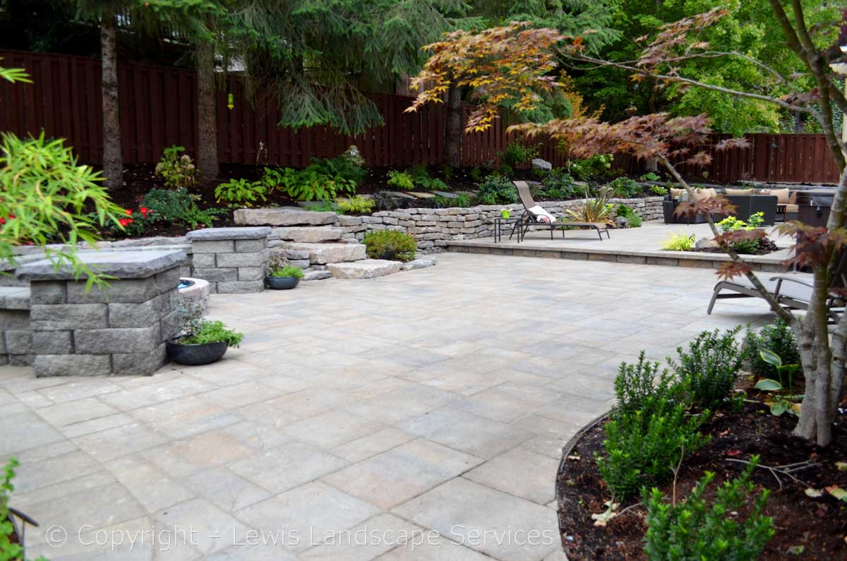 Paver Patio, Fire Pit, Seat Wall, Rock Walls, Landscaping