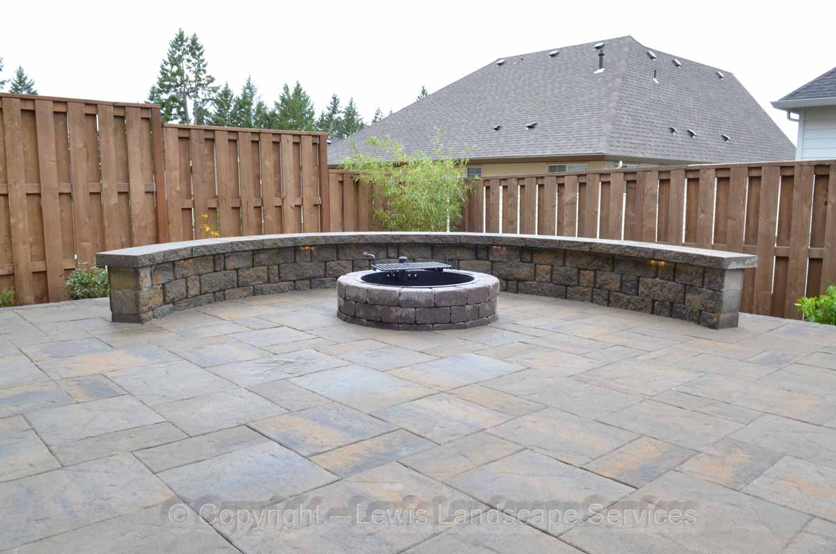 Paver Patio, Fire Pit, Seat Wall