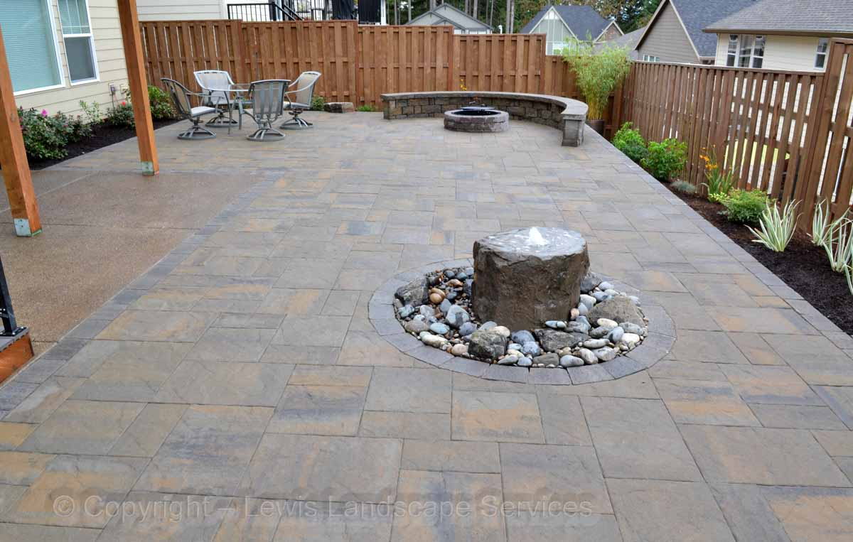 Paver Patio, Fire Pit, Seat Wall, Bubbler Fountain