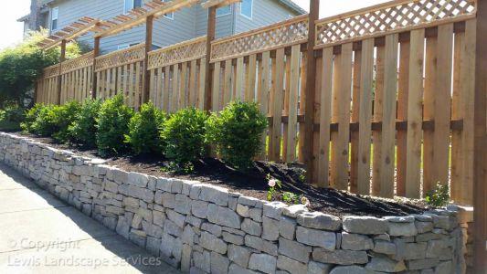 Cedar Good Neighbor Fence w/ Lattice Top & Arbor we built in Beaverton, Oregon - fence installers