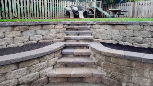 Segmental Retaining Walls w/ Built In Steps