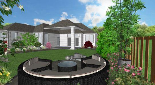 3D View of Landscape Design (Back Yard) for Job we completed in Feb. 2019 in Wilsonville, Oregon