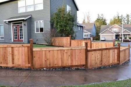 Shadowbox Style Cedar Fence at job we did in Hillsboro, Oregon