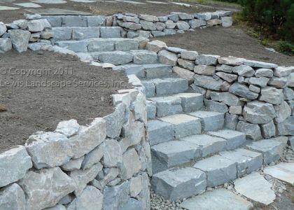 Basalt Dry Stack Rock Wall & Basalt Curb Stone Steps