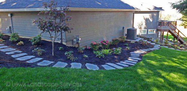 Flagstone Steps, New Sod Lawn, Plantings