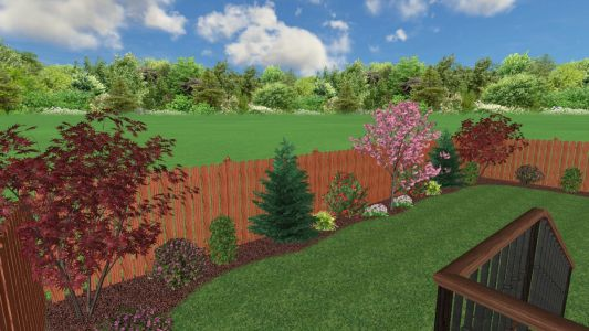 3D View of Landscape Design for planting/sod lawn installation we completed in 2019 in Beaverton