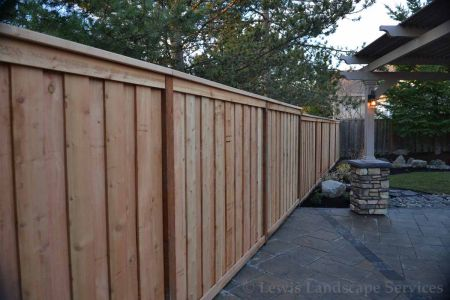 Shadowbox Style Cedar Fence instllation at one of our Portland, Oregon Fence Installations