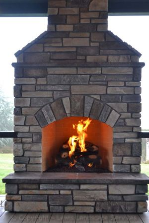 Stone Gas Outdoor Fireplace - Front Side